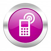 phone violet circle chrome web icon isolated