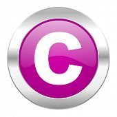 copyright violet circle chrome web icon isolated