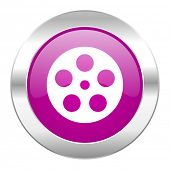 film violet circle chrome web icon isolated