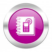 phonebook violet circle chrome web icon isolated