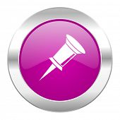pin violet circle chrome web icon isolated