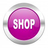 shop violet circle chrome web icon isolated