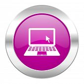 computer violet circle chrome web icon isolated