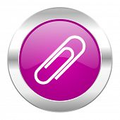 paperclip violet circle chrome web icon isolated