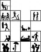 Silhouette of people inside blocks on different activities