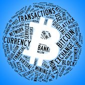 Bitcoin currency symbol with tag cloud concept