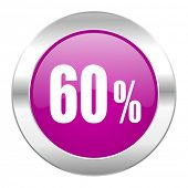 60 percent violet circle chrome web icon isolated
