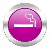 cigarette violet circle chrome web icon isolated