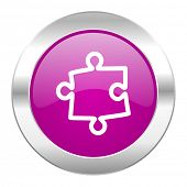 puzzle violet circle chrome web icon isolated