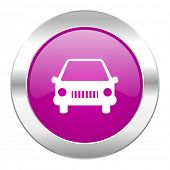 car violet circle chrome web icon isolated