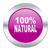natural violet circle chrome web icon isolated