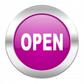 open violet circle chrome web icon isolated