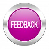 feedback violet circle chrome web icon isolated
