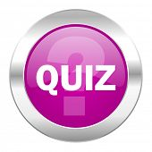 quiz violet circle chrome web icon isolated