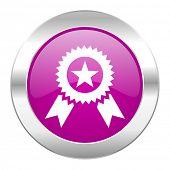 award violet circle chrome web icon isolated