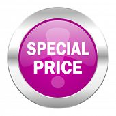special price violet circle chrome web icon isolated