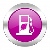 biofuel violet circle chrome web icon isolated