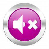 speaker volume violet circle chrome web icon isolated