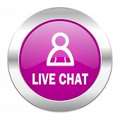 live chat violet circle chrome web icon isolated