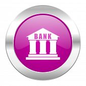 bank violet circle chrome web icon isolated