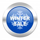 winter sale blue circle chrome web icon isolated