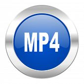 mp4 blue circle chrome web icon isolated