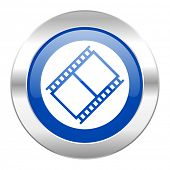 film blue circle chrome web icon isolated