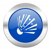 bomb blue circle chrome web icon isolated