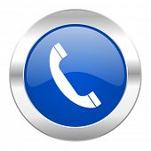 phone blue circle chrome web icon isolated