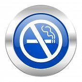 no smoking blue circle chrome web icon isolated