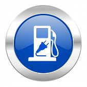 fuel blue circle chrome web icon isolated