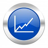 chart blue circle chrome web icon isolated