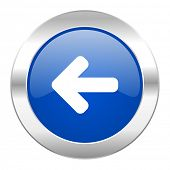 left arrow blue circle chrome web icon isolated