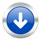 download arrow blue circle chrome web icon isolated