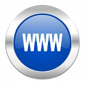 www blue circle chrome web icon isolated