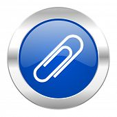 paperclip blue circle chrome web icon isolated