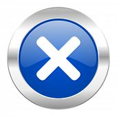 cancel blue circle chrome web icon isolated