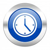 time blue circle chrome web icon isolated