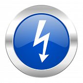 bolt blue circle chrome web icon isolated