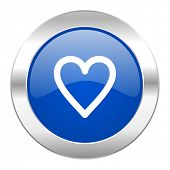 heart blue circle chrome web icon isolated