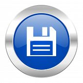 disk blue circle chrome web icon isolated