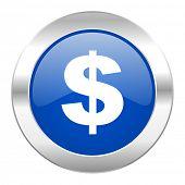 dollar blue circle chrome web icon isolated