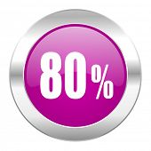 80 percent violet circle chrome web icon isolated