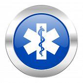 emergency blue circle chrome web icon isolated