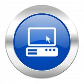 computer blue circle chrome web icon isolated