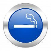 cigarette blue circle chrome web icon isolated