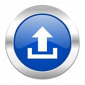 upload blue circle chrome web icon isolated