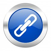 link blue circle chrome web icon isolated