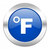 fahrenheit blue circle chrome web icon isolated