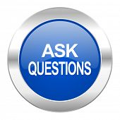ask questions blue circle chrome web icon isolated